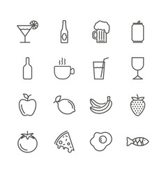 food and drink set icon outline restaurant vector image