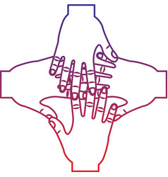 Four hands together hand gesture icon image vector