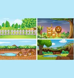 Four scenes with wild animals vector