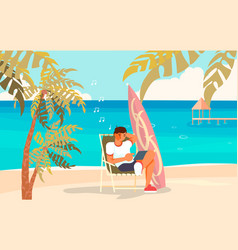 Freelancer on beach vector