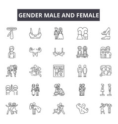 gender male and female line icons signs vector image