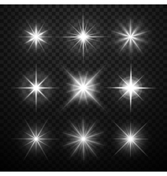 Glowing light effects stars bursts with vector