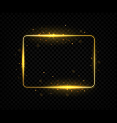 golden square frame shining border lines with vector image