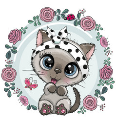 greeting card cute kitten with flowers vector image