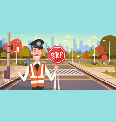 Guard with stop sign on road with crosswalk and vector