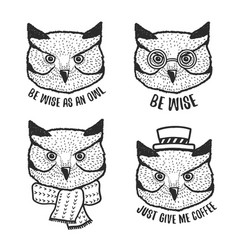 hand drawn cartoon owl head prints set vector image