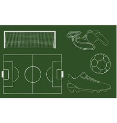 hand drawn football object set vector image