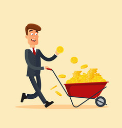Happy businessman in grey suit pushing red cart vector