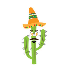 happy cactus with a mexican hat vector image