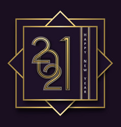 Happy new year 2021 gold art deco line frame card vector