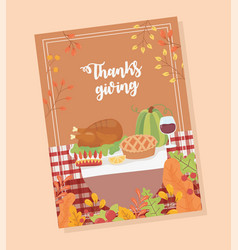 happy thanksgiving poster menu dinner turkey wine vector image