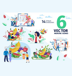 Healthy nutrition and dieting scenes set vector