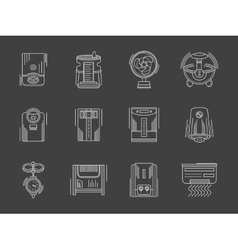 Household appliances white flat line icons vector image