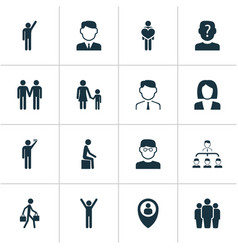 Human icons set with employee rejoicing team and vector