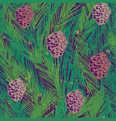 ink hand drawn seamless pattern with fir tree vector image