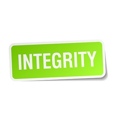 Integrity green square sticker on white background vector