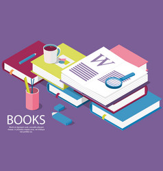 isometric books creative concept vector image