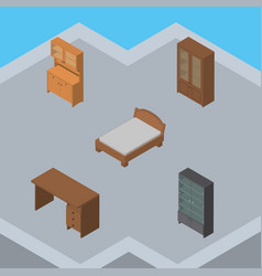 Isometric furnishing set of bedstead table vector