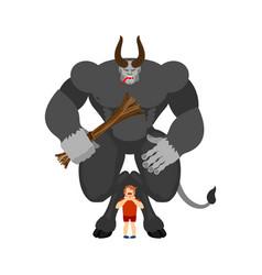 krampus and boy anti santa claus for bad kids vector image