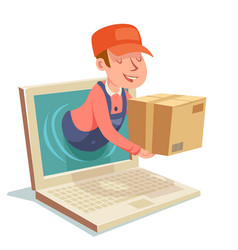 Laptop internet delivery concept box computer vector
