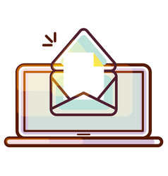 Laptop pc icon with e-mail message vector