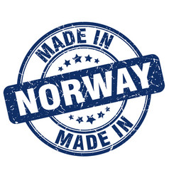 made in norway blue grunge round stamp vector image