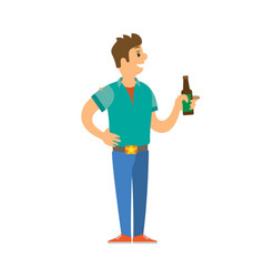 male on disco standing with bottle of alcohol vector image