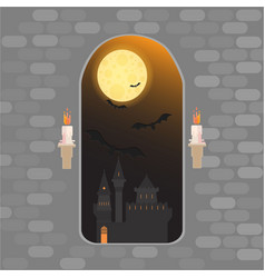 medieval window in castle happy helloween card vector image
