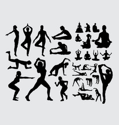 meditation and yoga people silhouettes vector image