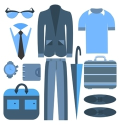 Mens business clothing isolated and accessories vector