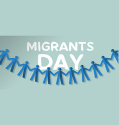 Migrants day card of people paper garland vector