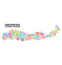 Mosaic flores island indonesia map gearwheel vector
