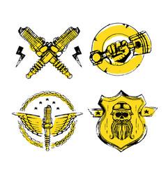moto biker theme icon set cafe racer golden vector image