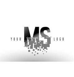 Ms m s pixel letter logo with digital shattered vector