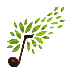music note with green nature leaves concept vector image