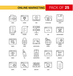 Online marketing black line icon - 25 business vector