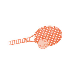 Orange shading silhouette cartoon tennis racquet vector