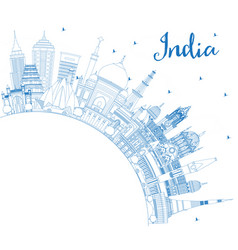 Outline india city skyline with blue buildings vector