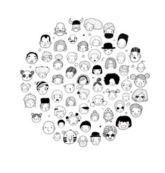 Pattern with graphical faces vector
