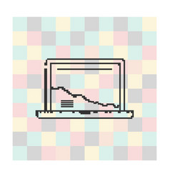 pixel icon laptop on a square background vector image
