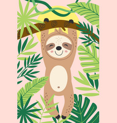 Poster with cute sloth hanging on a branch vector