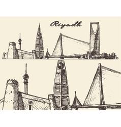 Riyadh skyline engraved hand drawn sketch vector image