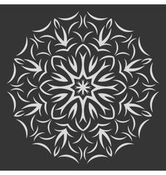 Round white flower pattern on black background vector