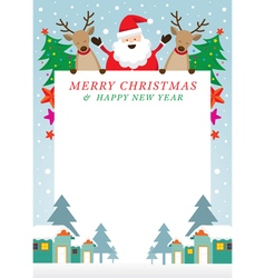 Santa Claus and Reindeer Frame vector