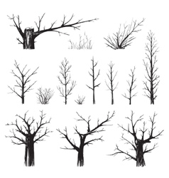 Scratchy Trees Collection in Black Silhouettes vector