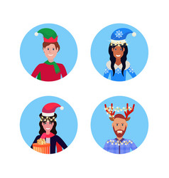 set man woman wearing different hat merry vector image