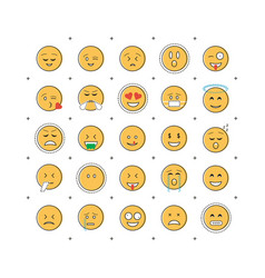 Set of emoticon with line vector