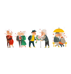 set of happy elder senior couples in love vector image