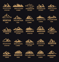 Set of mountain icons in golden style isolated on vector