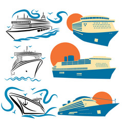 set stylized cruise liners collection of vector image